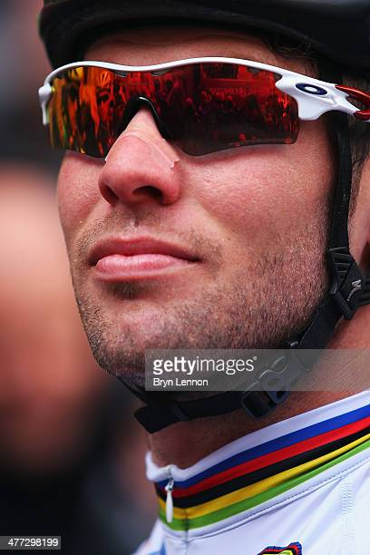 Mark Cavendish of Great Britain and Omega PharmaQuickStep looks on at the start of the 2014 Strade Bianchi from to San Gimignano to Siena ll Campo on...