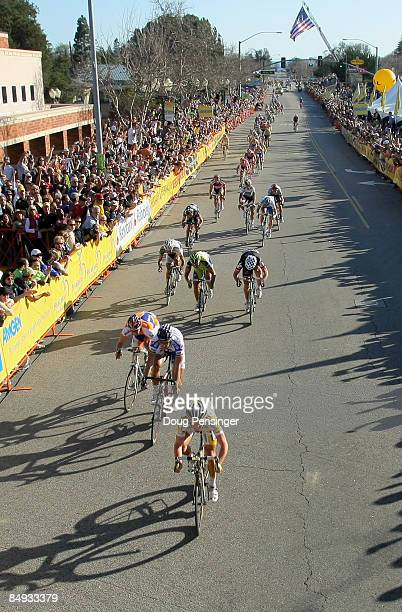 Mark Cavendish of Great Britain and riding for Columbia-Highroad outsprints Tom Boonen of Belgium and riding for Quickstep and Pedro Horrillo of...