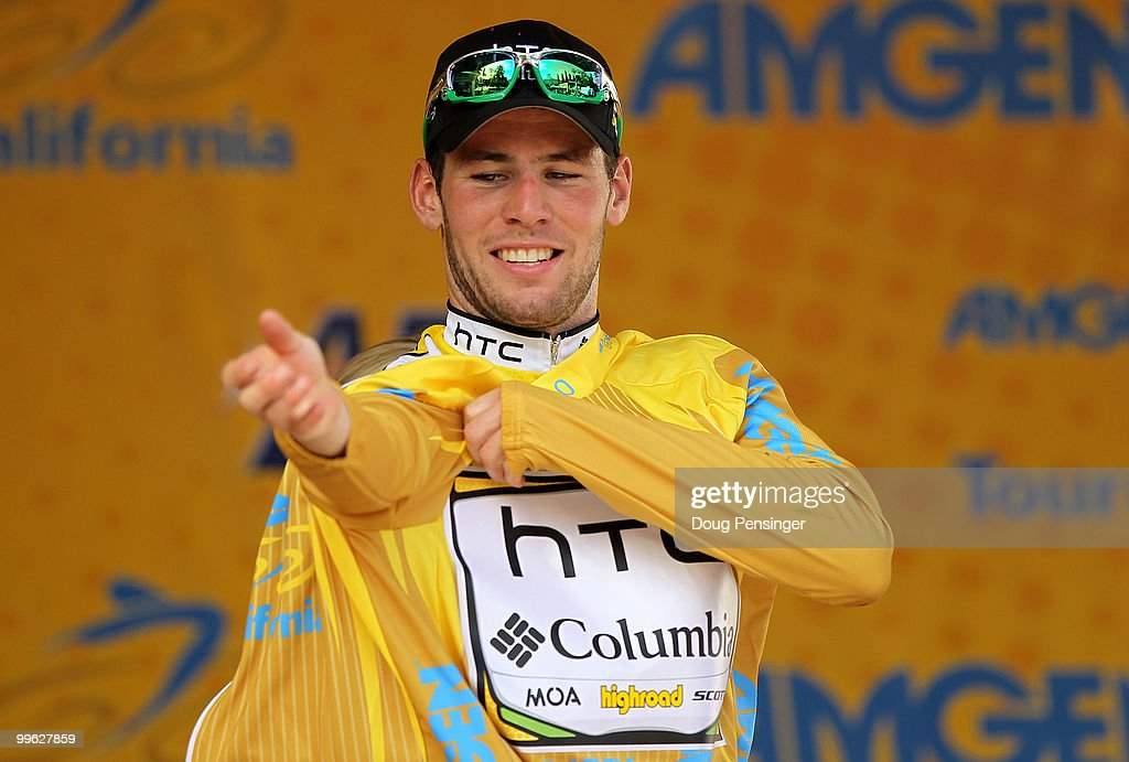 Mark Cavendish of Great Britain and riding for HTC-Columbia puts on the yellow jersey after winning Stage One of the 2010 Tour of California from Nevada City to Sacramento on May 16, 2010 in Sacramento, California.