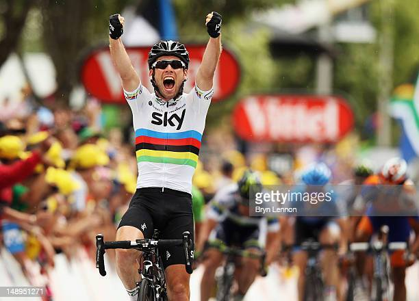 Mark Cavendish of Great Britain and SKY Procycling celebrates winning stage eighteen of the 2012 Tour de France from Blagnac to Brive-la-Gaillarde on...
