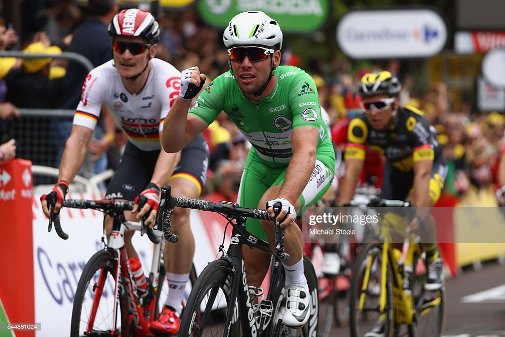 Mark Cavendish of Great Britain and Team Dimension Data celebrates the stage win from Andre Greipel (L) of Germany and Lotto Soudal during stage three of Le Tour de France from Granville to Angers on July 4, 2016 in Angers, France.