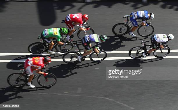 Mark Cavendish of Great Britain and Team Dimension Data heads to stage victory from Marcel Kittel of Germany and Etixx Quick Step during the 1905km...