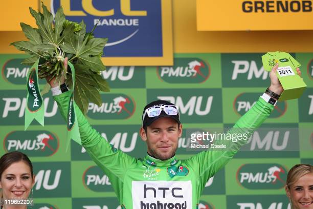 Mark Cavendish of Great Britain and Team HTC Highroad retains the Green Points jersey after the Individual Time Trial Stage 20 of the 2011 Tour de...