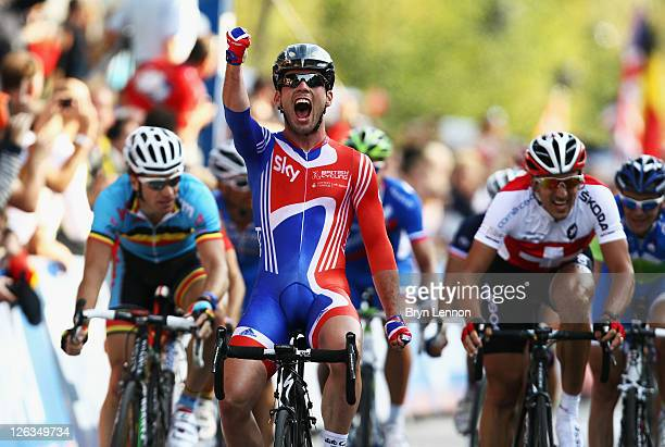 Mark Cavendish of Great Britain celebrates after winning the Men's Elite Road Race during day seven of the UCI Road World Championships on September...