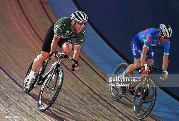 Mark Cavendish of Great Britain celebrates victory over Elia Viviani of Italy in the elimination during the Third Day of the London Six Day Race at...