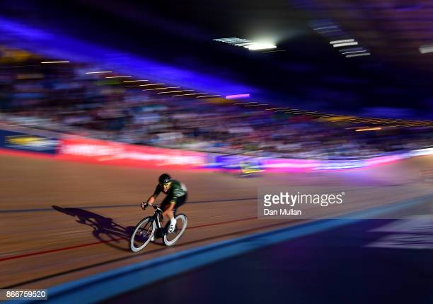 Mark Cavendish of Great Britain competes in the Mens Chase on day three of the London Six Day Race at the Lee Valley Velopark Velodrome on October 26...
