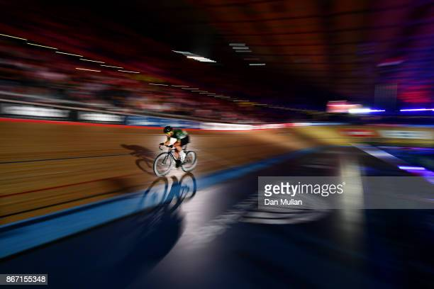 Mark Cavendish of Great Britain competes in the Mens Madison Chase on day four of the London Six Day Race at the Lee Valley Velopark Velodrome on...