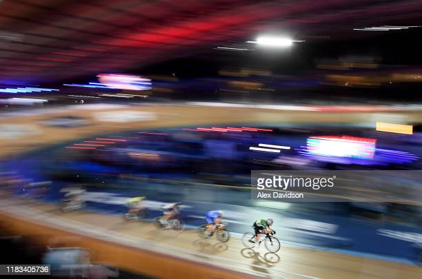 Mark Cavendish of Great Britain in action during Day Four of the London Six Day Race at Lee Valley Velopark Velodrome on October 25, 2019 in London,...