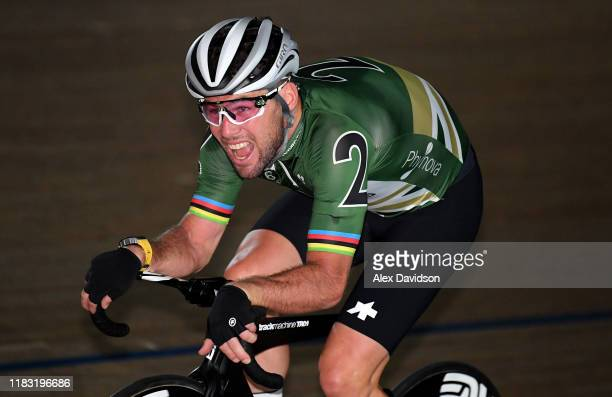 Mark Cavendish of Great Britain in action during the Third Day of the London Six Day Race at Lee Valley Velopark Velodrome on October 24, 2019 in...