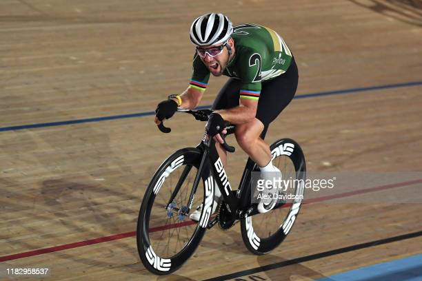 Mark Cavendish of Great Britain on his way to winning the Madison Chase during Day 2 of the London Six Day Race at Lee Valley Velopark Velodrome on...