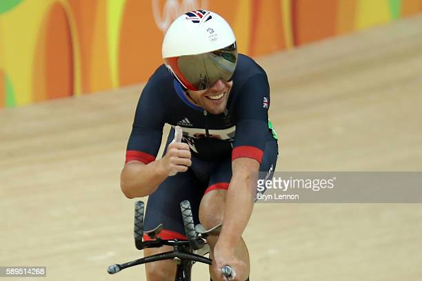 Mark Cavendish of Great Britain reacts after competing in the Men's Omnium Individual Pursuit on Day 9 of the Rio 2016 Olympic Games at the Rio...