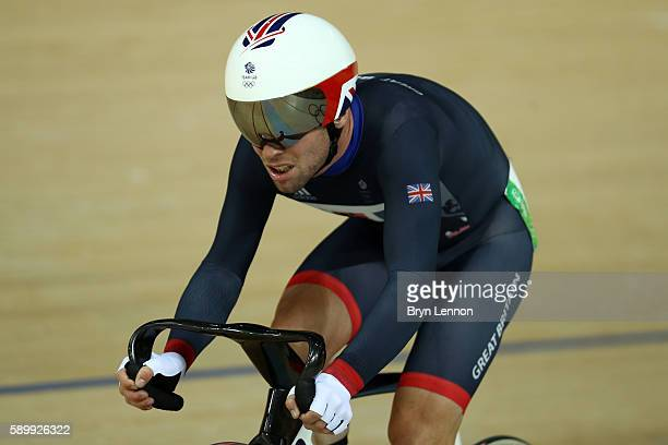 Mark Cavendish of Great Britain reacts after the Cycling Track Men's Omnium Points Race 66 on Day 10 of the Rio 2016 Olympic Games at the Rio Olympic...