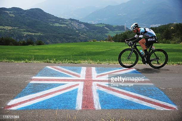 Mark Cavendish of Great Britain rides for Omega Pharma-Quick Step during stage seventeen of the 2013 Tour de France, a 32KM Individual Time Trial...