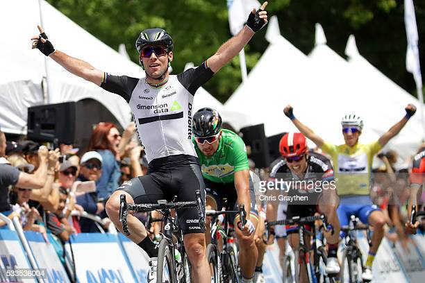 Mark Cavendish of Great Britian riding for Team Dimension Data for Qhubeka celebrates after winning stage 8 of the Amgen Tour of California on May 22...