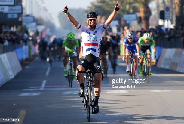 Mark Cavendish of Omega PharmaQuick Step crosses the finish line and wins stage six of the 2014 Tirreno Adriatico a 189 km stage from Bucchianico to...