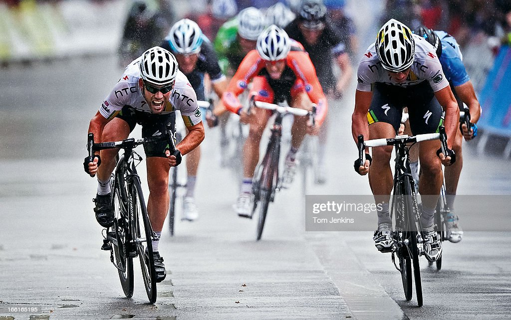 Mark Cavendish (left) of Team HTC-Highroad sprints to victory in the final stage of the Tour of Britain at Whitehall, Westminster, London on September 18th 2011 (Photo by Tom Jenkins/Getty Images). An image from the book 'In The Moment' published June 2012