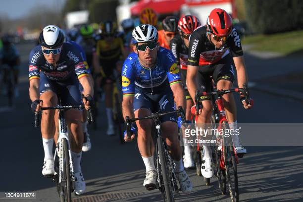 Mark Cavendish of The United Kingdom and Team Deceuninck - Quick-Step & Brent Van Moer of Belgium and Team Lotto Soudal during the 53rd Grand Prix Le...