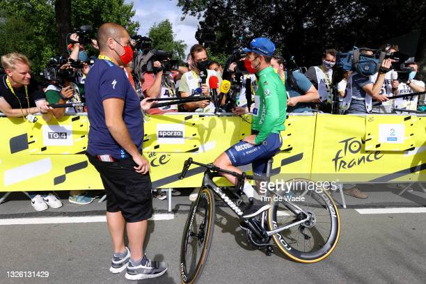 Mark Cavendish of The United Kingdom and Team Deceuninck - Quick-Step Green Points Jersey celebrates during the 108th Tour de France 2021, Stage 4 a...