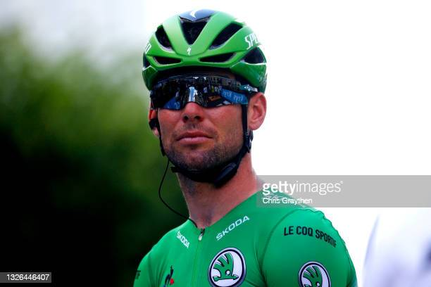 Mark Cavendish of The United Kingdom and Team Deceuninck - Quick-Step Green Points Jersey at start during the 108th Tour de France 2021, Stage 6 a...