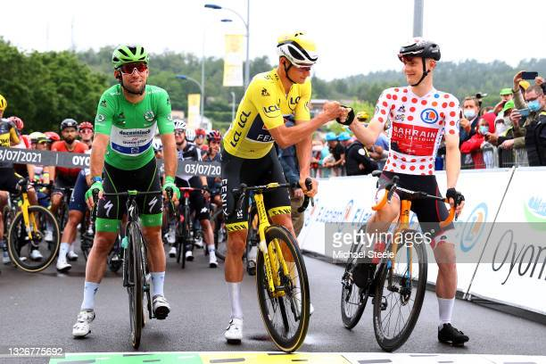 Mark Cavendish of The United Kingdom and Team Deceuninck - Quick-Step Green Points Jersey, Mathieu Van Der Poel of The Netherlands and Team...