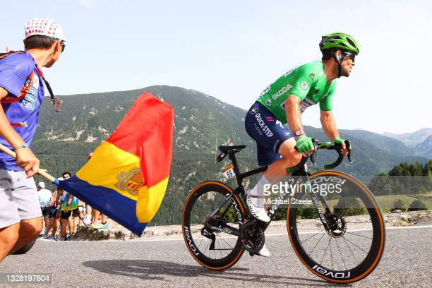 Mark Cavendish of The United Kingdom and Team Deceuninck - Quick-Step Green Points Jersey during the 108th Tour de France 2021, Stage 15 a 191,3km...