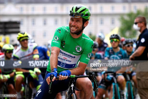 Mark Cavendish of The United Kingdom and Team Deceuninck - Quick-Step Green Points Jersey at start during the 108th Tour de France 2021, Stage 18 a...