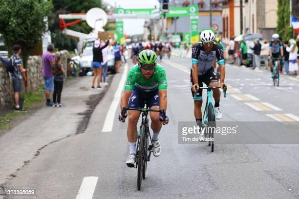 Mark Cavendish of The United Kingdom and Team Deceuninck - Quick-Step Green Points Jersey & Michael Matthews of Australia and Team BikeExchange...