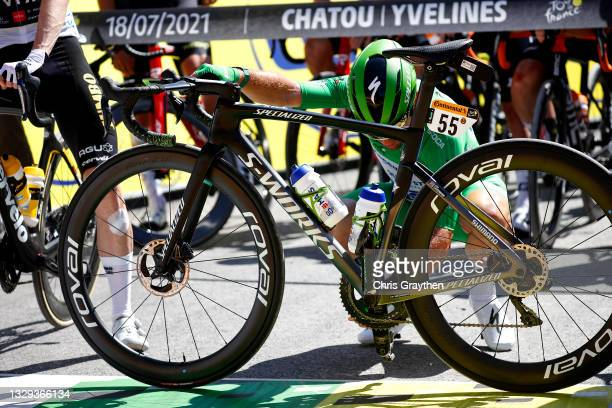 Mark Cavendish of The United Kingdom and Team Deceuninck - Quick-Step Green Points Jersey at start during the 108th Tour de France 2021, Stage 21 a...