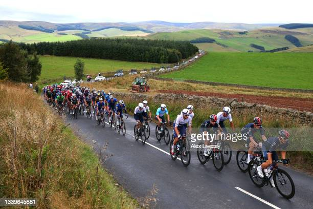 Mark Cavendish of United Kingdom, Tim Declercq of Belgium, Mikkel Honoré of Denmark and Team Deceuninck - Quick-Step, Mason Hollyman of United...