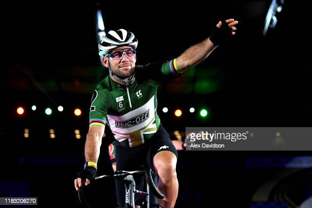 Mark Cavendish on the podium during the Third Day of the London Six Day Race at Lee Valley Velopark Velodrome on October 24, 2019 in London, England.