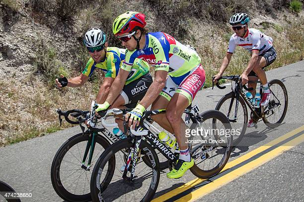 Mark Cavendish riding for the EtixxQuick Step team and Peter Sagan riding for the TinkoffSaxo team have a chat during the Amgen Tour of California...