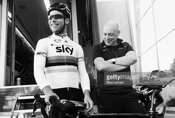 Mark Cavendish talks with Team Principal Dave Brailsford during a preseason Team SKY training camp in Puerto Alcudia on January 23 2012 in Mallorca...