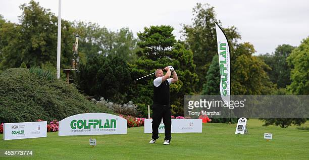 Mark Chamberlain of Wyboston Lakes Golf Club plays his first shot on the 1st tee during the Golfplan Insurance PGA ProCaptain Challenge East Regional...