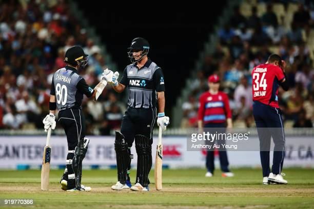 Mark Chapman and Colin de Grandhomme of New Zealand in their partnership during the International Twenty20 match between New Zealand and England at...