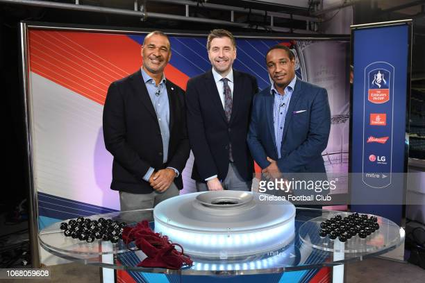 Mark Chapman is with Ruud Gullit and Paul Ince at the Emirates FA Cup Third Round Draw at Stamford Bridge on December 3 2018 in London England