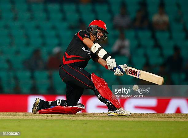 Mark Chapman of Hong Kong in action during the ICC Twenty20 World Cup Round 1 Group B match between Scotland and Hong Kong at the Vidarbha Cricket...