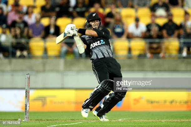Mark Chapman of the Blackcaps bats during the International Twenty20 match between New Zealand and England at Westpac Stadium on February 13 2018 in...