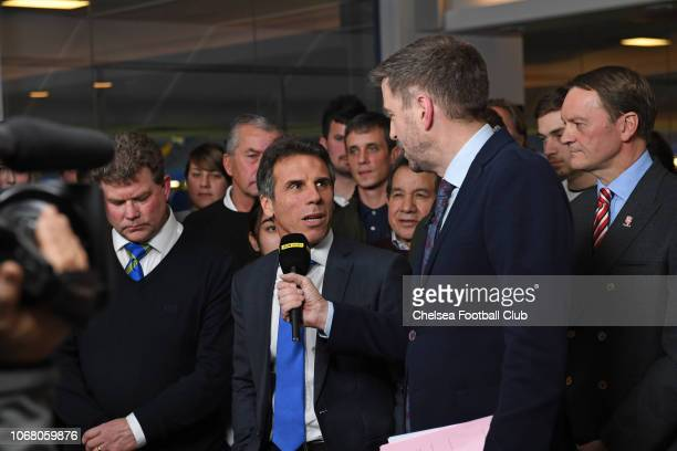 Mark Chapman with Gianfranco Zola of Chelsea at the Emirates FA Cup Third Round Draw at Stamford Bridge on December 3 2018 in London England