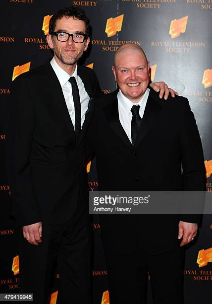 Mark Charnock and Dominic Brunt attend the RTS programme awards at Grosvenor House on March 18 2014 in London England