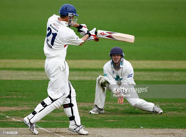 Mark Chilton of Lancashire hooks the the ball during day one of the Liverpool Victoria Insurance County Championship match between Hampshire and...