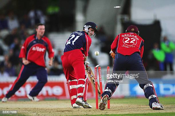 Mark Chilton of Lancashire is clean bowled by Ian Blackwell of Somerset during the Twenty20 Cup Final between the Somerset Sabres and Lancashire...
