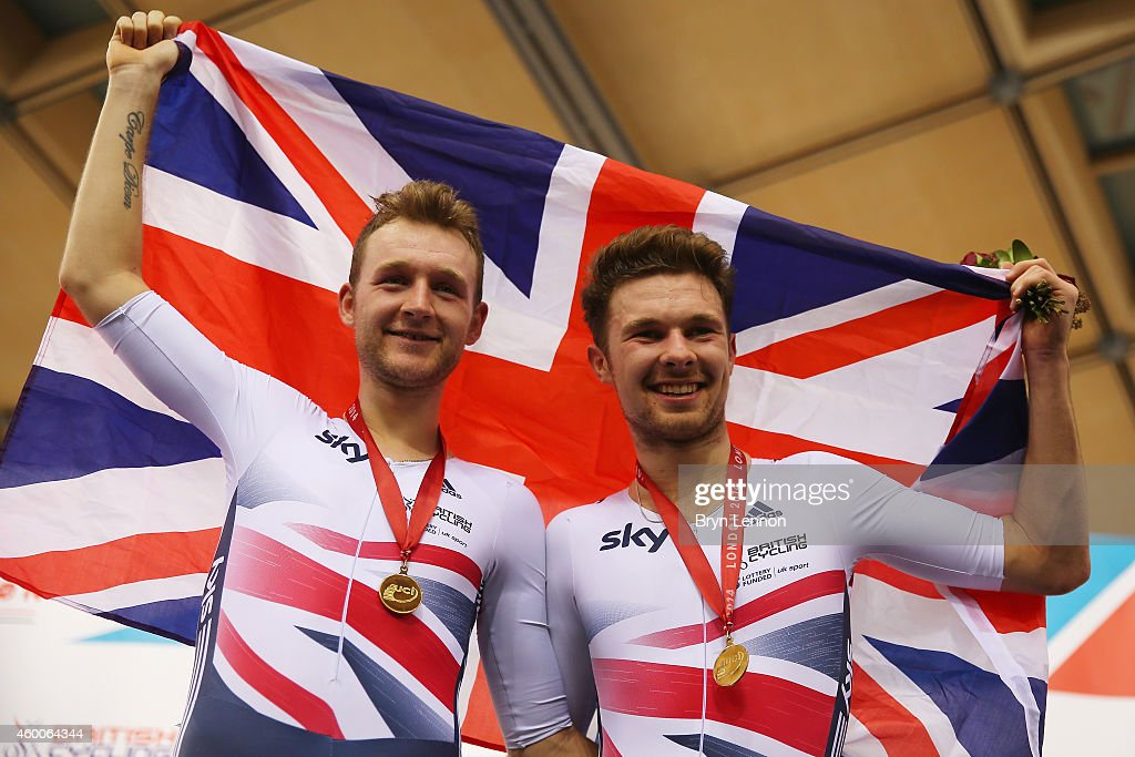 Mark Christian (L) and Owain Doull (R) of Great Britain celebrate winning the Men's Madison Final on day two of the UCI Track Cycling World Cup at the Lee Valley Velopark Velodrome on December 6, 2014 in London, England.