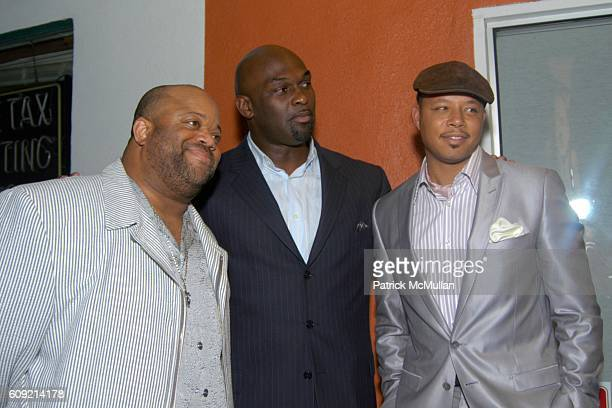 Mark Christopher Lawrence Tommy Ford and Terrence Howard attend Olympic Artist Jesse Raudales Peace for the Children Art Show at Los Angeles on...