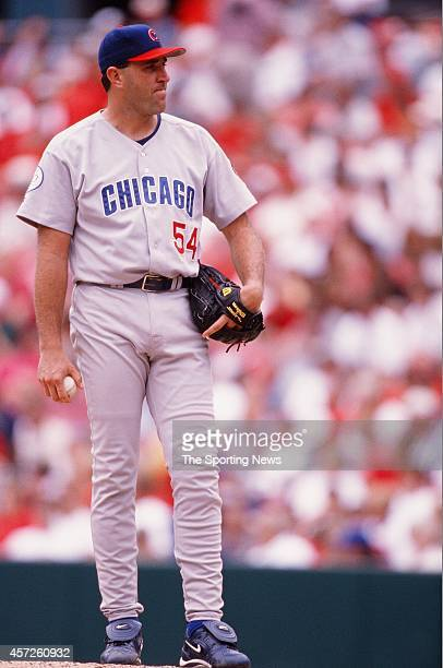 Mark Clark of the Chicago Cubs pitches against the St Louis Cardinals at Busch Stadium on August 8 1998 in St Louis Missouri