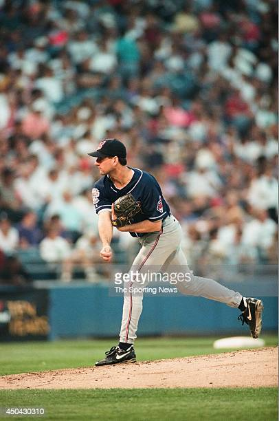 Mark Clark of the Cleveland Indians pitches against the Chicago White Sox on July 15 1994 at Comiskey Park in Chicago Illinois The Indians defeated...