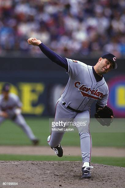 Mark Clark of the Clevelnad Indians pitches during a baseball game against the Baltimore Orioles on May 1 1994 at Camden Yards in Baltimore Maryland