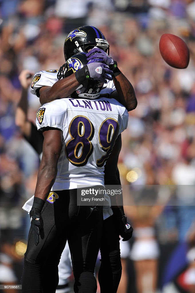 Mark Clayton #89 of the Baltimore Ravens celebrates his touchdown against the Kansas City Chiefs at M&T Bank Stadium on September 13, 2009 in Baltimore, Maryland. The Ravens defeated the Chiefs 38-24.