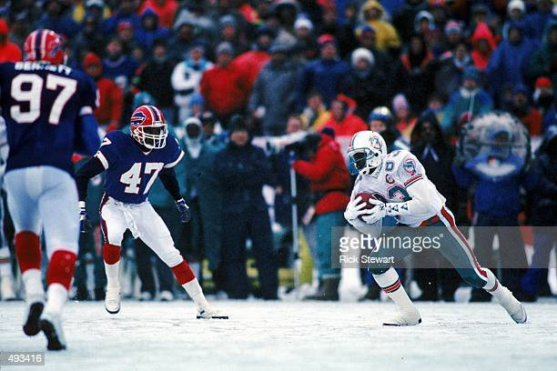 Mark Clayton of the Miami Dolphins in action against the Buffalo Bills at the Rich Stadium in Orchard Park New York