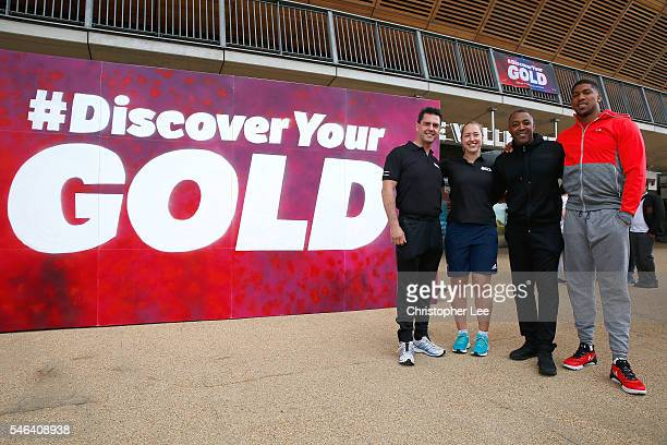 Mark Colborne Lizzy Yarnold Darren Campbell and Anthony Joshua pose for the camera during the launch of the Discover Your Gold at Lee Valley Velopark...