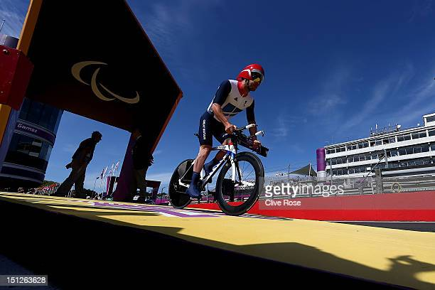Mark Colbourne of Great Britain starts the Men's Individual C1 Time Trial on day 7 of the London 2012 Paralympic Games at Brands Hatch on September 5...